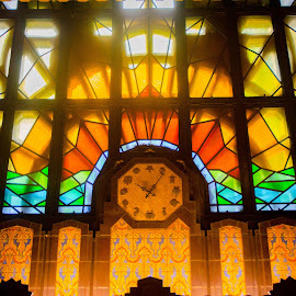 Light Mural by Cory Bohnenkamp - Buildings & Architecture Other Interior ( interior, detail, building, clock, marine building, woodwork, vancouver, stained glass )