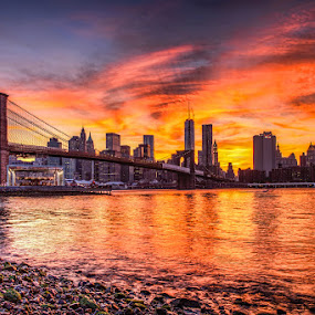 New York Burning Sky by Wenjie Qiao - City,  Street & Park  Skylines ( brooklyn bridge, brooklyn bridge park, sunset, dumbo, new york )