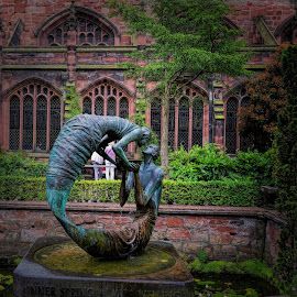 The Mermaids by Phil Robson - Buildings & Architecture Statues & Monuments ( statue, chester, mermaids, cathedral, garden )