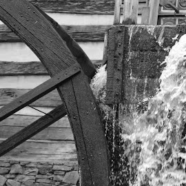 Water Mill by Bill Givens - Novices Only Objects & Still Life ( turning, water mill, amateur, black and white, power, water, flowing )