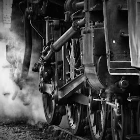 Steam by Josh Hilton - Transportation Trains ( greyscale, black and white, railroad, train, steam )