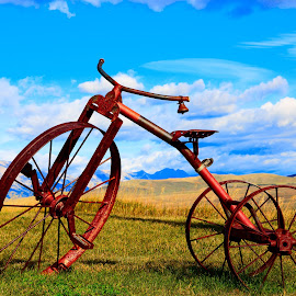 Antique Tricycle by David Bair - Transportation Other ( bell, mountains, tricycle, scenic, rust, antique )