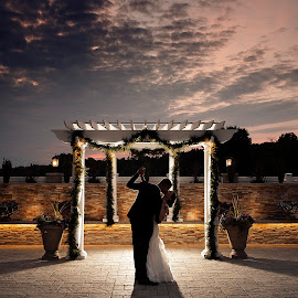 Dancing under sunset by Joseph Humphries - Wedding Bride & Groom ( love, kiss, dancing, altar, sunset, wedding, marriage )