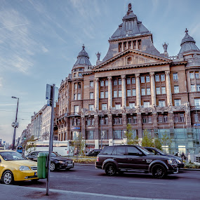 Blue Hour Rush by Andreea Alexe - Transportation Roads ( clouds, budapest, street, road, travel, spring, city, holiday, sky, color, cars, buildings, evening,  )