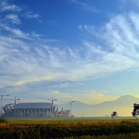 stadium and cloud formations by Gunarsa Gunarsa - Landscapes Cloud Formations ( stadium clouds landscape )
