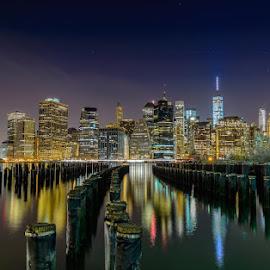 by Frank Vacante - City,  Street & Park  Vistas ( night photography, night scene, waterscape, long exposure, manhattan, cityscape, landscape, nightscape )
