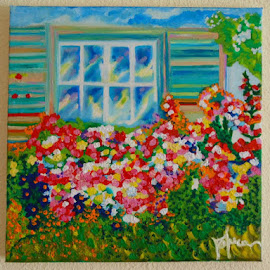 Flowers at the window by Raluca Tataru - Painting All Painting