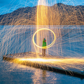 Steel wool and action by Ionut Olaru - Abstract Light Painting ( steel wool photo, steel wool, sunset, steel, river )