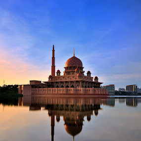 by Azri Suratmin - Travel Locations Landmarks ( water, refleksi, putrajaya, azri, malaysia, azrisuratmin, sunrise, masjid putra, World_is_Blue, Architecture, Building, Buildings, Exterior, Exteriors, Interior, Interiors, Space, Spaces, HDR, Landmark, Landmarks, Engineering, Tilt Shift, Tiltshift )