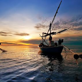 Fisherman by Arthit Somsakul - Landscapes Sunsets & Sunrises
