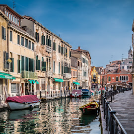by Mario Horvat - City,  Street & Park  Street Scenes ( venezia, water, houses, blue sky, venice, architecture, boat, canal )