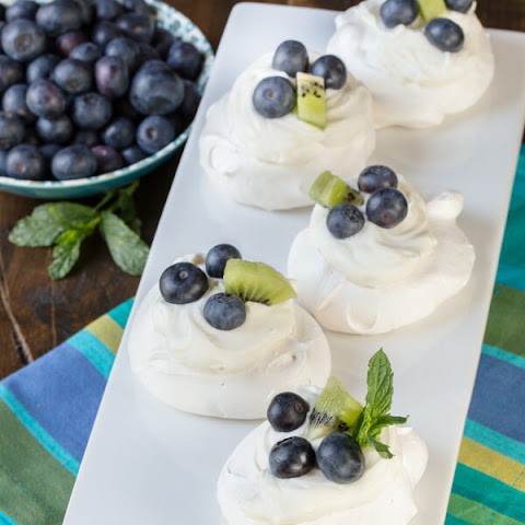 Mini Pavlovas with Blueberries and Kiwi