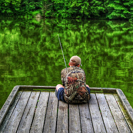 Best Fisherman Ever by Brian Homitz - People Street & Candids ( reflection, waiting, trees, reflections, lake, fishing, fisherman, pond, boy, dock,  )