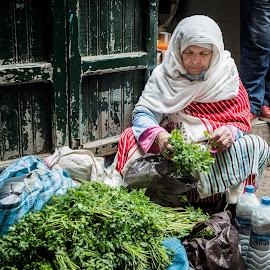 Woman on the market by Jean-Marc Schneider - City,  Street & Park  Street Scenes