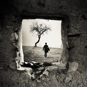Behind the old Window by Adrian  Limani - Landscapes Travel ( walking, tree, window, behind, travel, man )