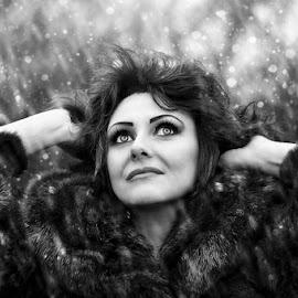 by Alexandru Tache - Black & White Portraits & People ( winter, woman, outdoor, snow, wildlife, smile, nikon, light )