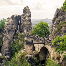 Sächsische Schweiz by Andre Srock - Uncategorized All Uncategorized ( clouds, bridge, stones, landscape, big island )