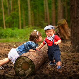 First date.... by Piotr Owczarzak - Babies & Children Children Candids ( child, girl, children, forest, childhood, cute, young, boy )