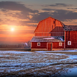 Out Beside The barn by Sandra Hilton Wagner - Buildings & Architecture Other Exteriors ( clouds, orange, scenic, landscape, rural, farm, field, tranquil, sky, red, barn, blue, sunset, snow, evening,  )