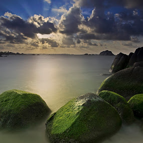 The Torch I by Eddie Cheever - Landscapes Sunsets & Sunrises ( benksstudio, belitong, indonesia, sunset, stone, seascape, travel, landscapes, belitung, sun,  )