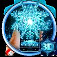 3D Neon Snowflake Winter theme