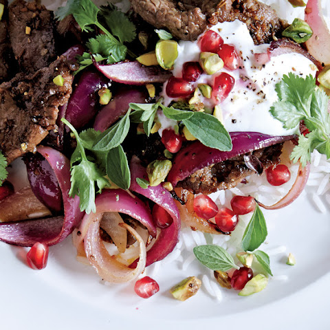 Lamb Stir-Fry with Pomegranate and Yogurt