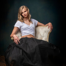 Just Chillin by Chuck Mason - People Portraits of Women ( black dress, studio portrait, white top, nikon 850, portrait, white chair, woman portrait )