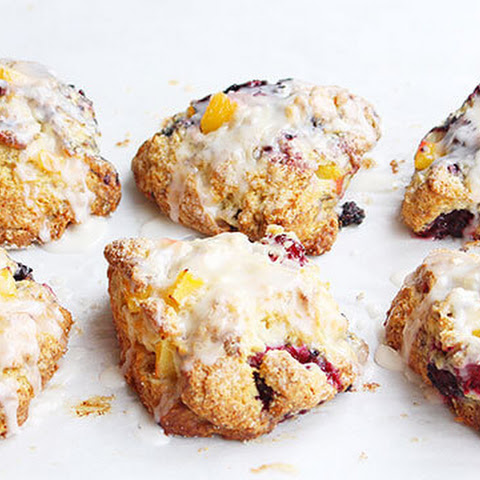 Peach Blackberry Scones with Vanilla Glaze