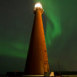 Lighthouse and Aurora Borealis by Jens Andre Mehammer Birkeland - Buildings & Architecture Other Exteriors ( stars, northern lights, aurora borealis, star, lighthouse )