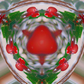 Holly Berries With Leaves Glass Macro by Robin Amaral - Digital Art Abstract ( glass art, festive, macro, winter flower, holly, macro photography, winter style, glass, christmas, holly berries, shiny )