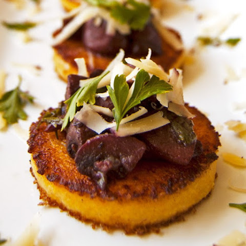 Polenta Cakes w/ Red Wine Mushrooms