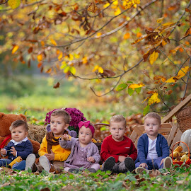 Baby friends by Bugarin Dejan - Babies & Children Child Portraits ( expression, beautiful, kids, beauty, cute, posing, pretty, portrait, photography, love, girl, autumn, bestoftheday, boys, lovely, baby, smile, group, light )