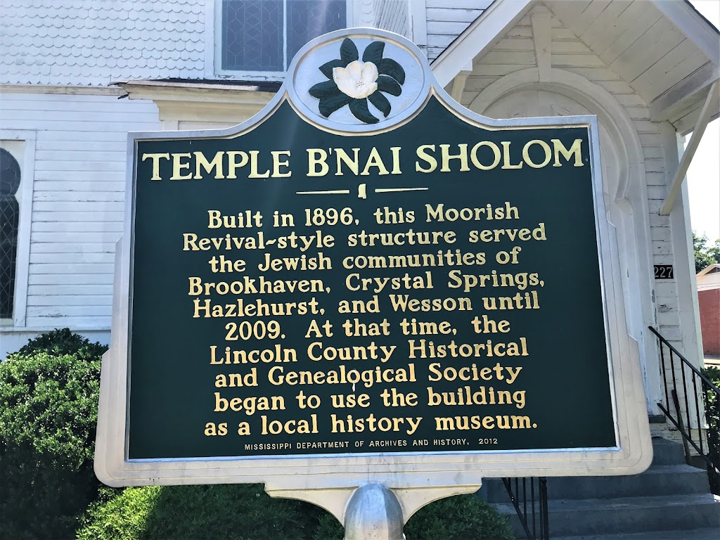 Built in 1896, this Moorish Revival-style structure served the Jewish communities of Brookhaven, Crystal Springs, Hazlehurst and Wesson until 2009. At that time, the Lincoln County Historical and ...