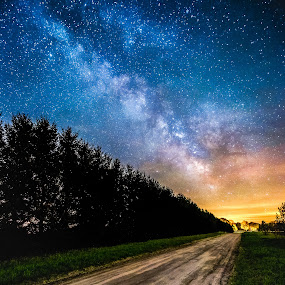 Road to the Milky Way by Trevor Pottelberg - Landscapes Starscapes ( scenic photographer, shooting star, landscape, brownsville, tree, night photography, constellations, t.pottelberg, corinth, dark, falling star, canada, t.pottelberg scenics, scenics, ontario, scenic, astronomy, startrails, nightscape, field, trevor pottelberg, stars, night, galaxy, heavens,  )