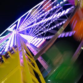 ferris by Fraya Replinger - City,  Street & Park  Amusement Parks ( carnival, colorful, colors, night, fair, ferris wheel )