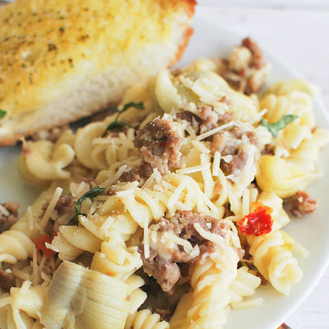 Pasta with Sausage, Artichokes, and Sun-Dried Tomatoes