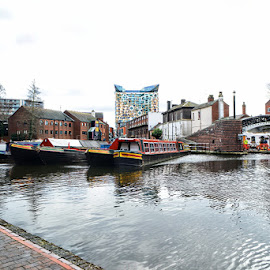 birmingham by Kathleen Devai - City,  Street & Park  Historic Districts ( water, boats, buildings, bridge, canal )