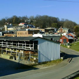 Galena Skyline with Lumber Yard by Kathy Rose Willis - City,  Street & Park  Skylines ( hill, skyline, galena, illinois, lumber, business )