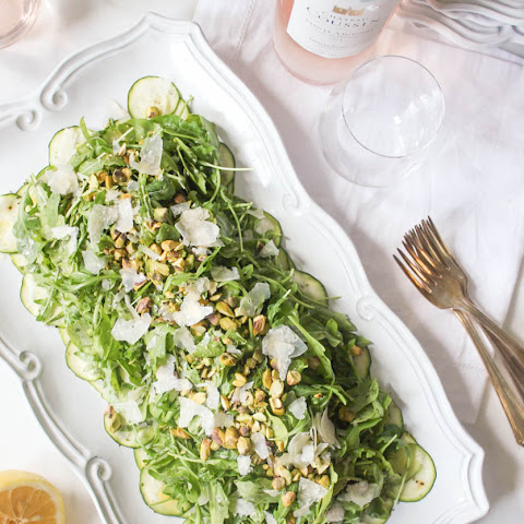 Arugula Salad with Shaved Zucchini, Pistachios and Parmesan