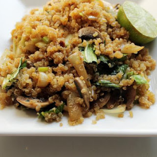 Vegan Quinoa Fried Rice with Bok Choy and Mushrooms