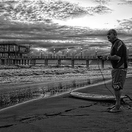 Time to surf by Gavin du Plessis - Black & White Landscapes ( pier, ocean, surf )