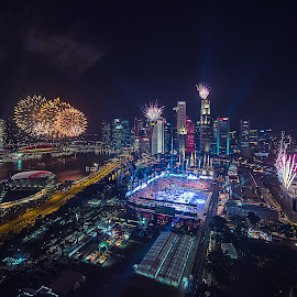 Marina Bay fireworks by Crispin Lee - City,  Street & Park  Night
