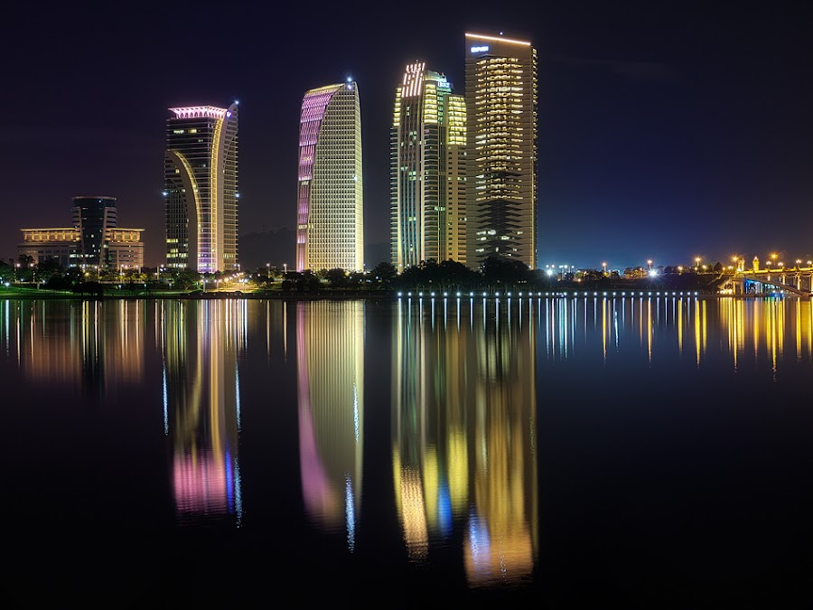Putrajaya @ Night by Henrik Spranz - City,  Street & Park  Skylines ( lights, mirror, water, skyline, blue, scrapes, putrajaya, asia, lake, malaysia, night, light )