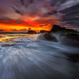 Fire and Water by Choky Ochtavian Watulingas - Landscapes Waterscapes ( clouds, sand, sky, sunset, wave, beach, burn, motion )