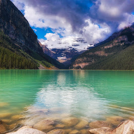 Lake Louise is REALLY Green by Monte Arnold - Landscapes Travel ( lake louise, get outside, alberta, canada, beautiful, banff national park, travel, scenic, landscape, escape )