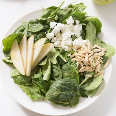 almonds asian spinach salad with chicken mushrooms peppers and almonds ...