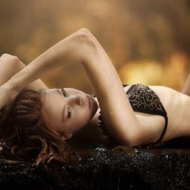 Warm morning by Mike Benkis - People Portraits of Women ( redhead, warm, woman, bikini, rocks, model, swimsuit, portrait )