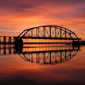 the Rising by Alison Gimpel - Buildings & Architecture Bridges & Suspended Structures ( duluth, sunrises, fall, lake superior, landscapes, bridges,  )
