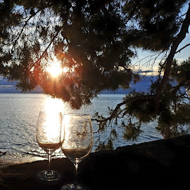 two glasses in sunset by Patrizia Emiliani - Artistic Objects Glass ( glasses, two,  )