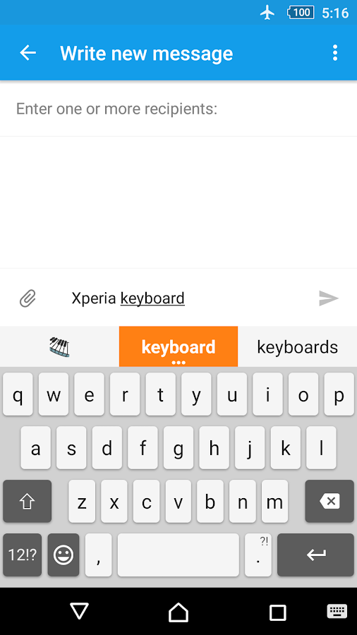 Xperia Keyboard Screenshot